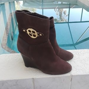 IMAN Brown Suede Ankle Boots Size 7.5 M